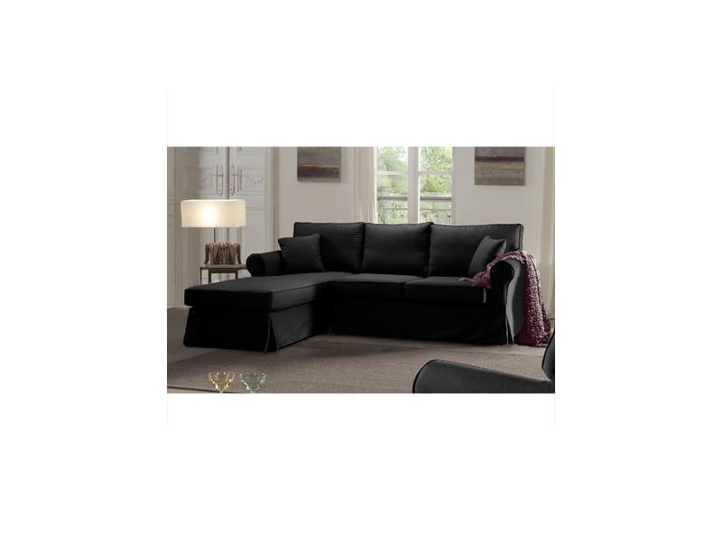 Canapé d'angle à gauche fixe en tissu noir - jaipur