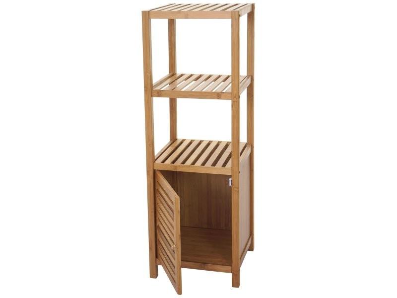 Genial Etagère Armoire Meuble Pour Salle De Bain En Bambou 110x36x34 Cm Sdb04023