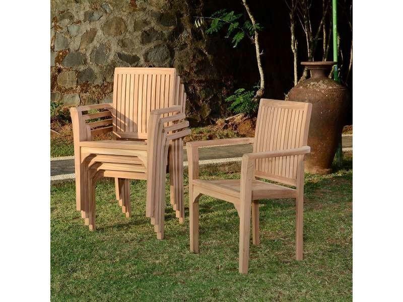 Fauteuil de jardin en teck empilable - lombok Teck massif de qualité ...
