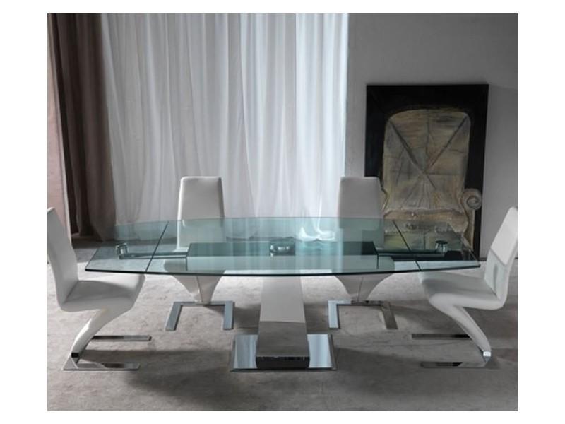 Table repas extensible tavolo enterprise en verre et acier chromé 20100836695
