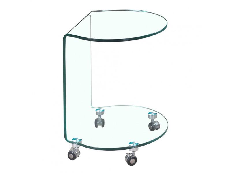 Table d'appoint ronde en verre - bout de canapé transparent vitré sur roulette - ambiance moderne - ice