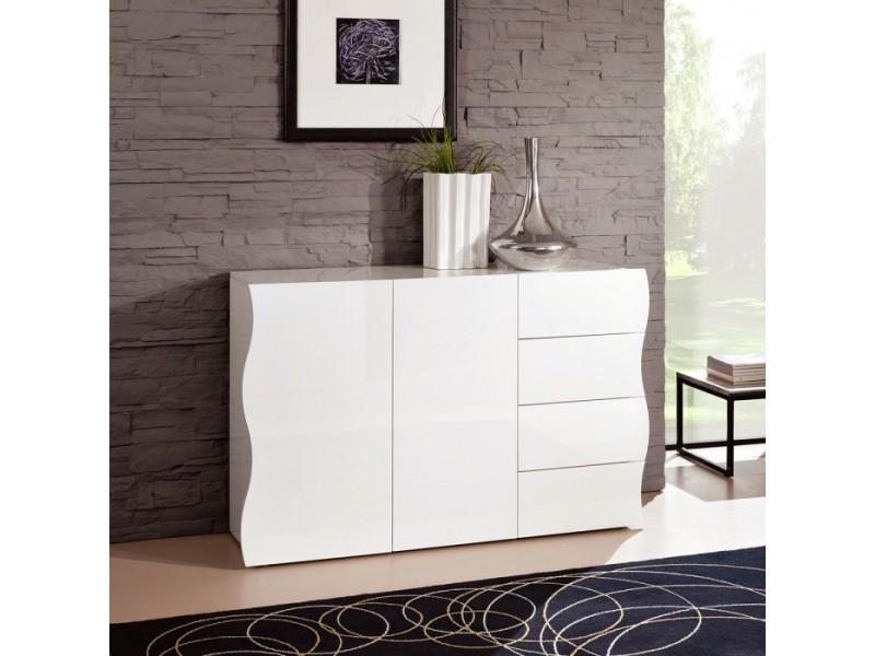 Commode à 2 portes et 4 tiroirs blanche laquée 130 x 81 cm sandra zendart sélection