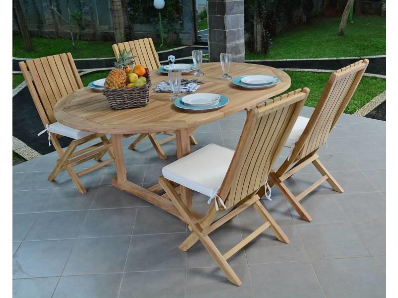 Salon de jardin en teck qualité ecograde talmont, 4/6 places ...