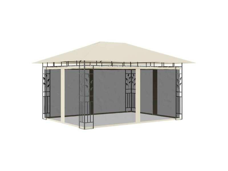 Splendide structures extérieures reference saint-domingue belvédère avec moustiquaire 4x3x2,73 m crème 180 g/m²