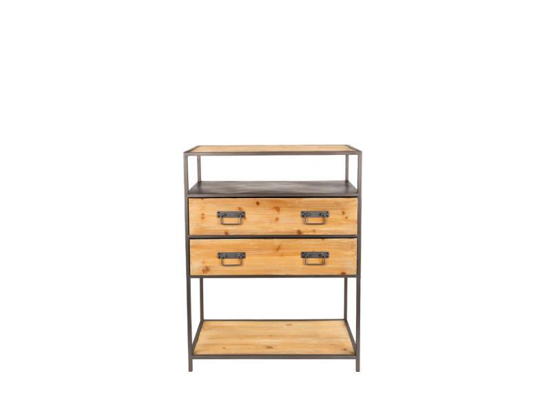 Console design en bois et métal samuel - couleur - noir 2600006