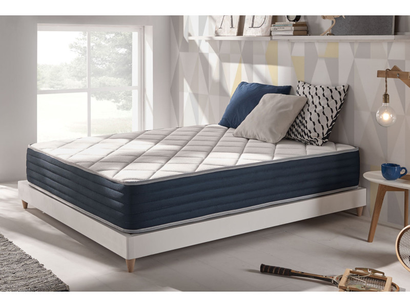 matelas à mémoire royalvisco 80x190 cm mousse hr blue latex