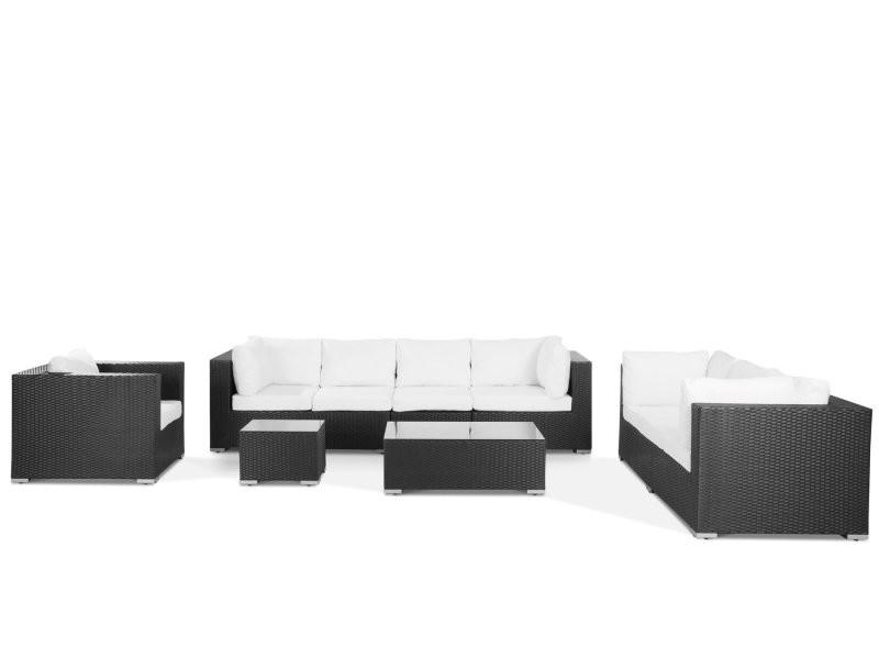 Salon de jardin en rotin noir et coussins blanc maestro 11438 ...