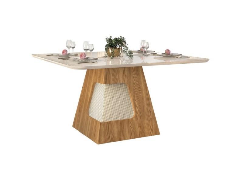Table à manger 8 personnes carrée chêne et blanc