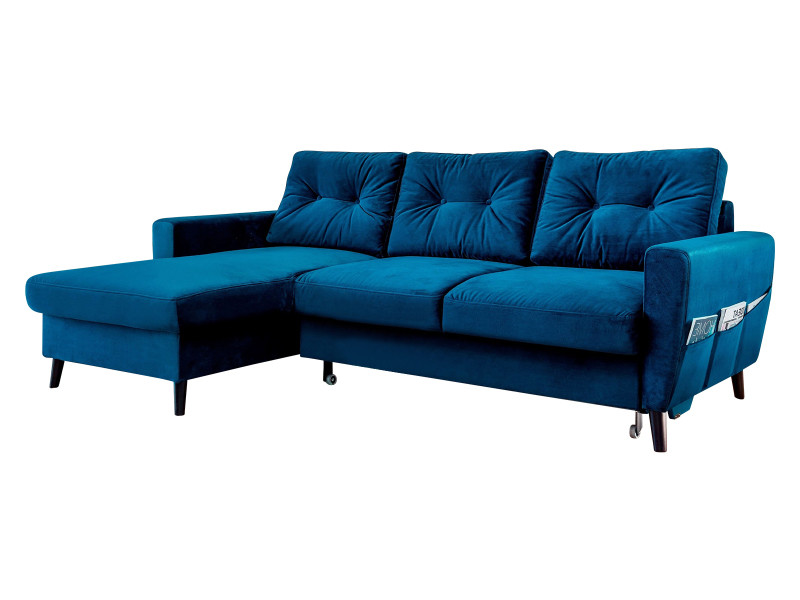 Canapé d'angle convertible coffre velours scandi bleu marine angle gauche