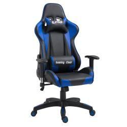 Chaise de bureau gaming fauteuil gamer chair style racing racer siège revêtement synthétique noir et bleu