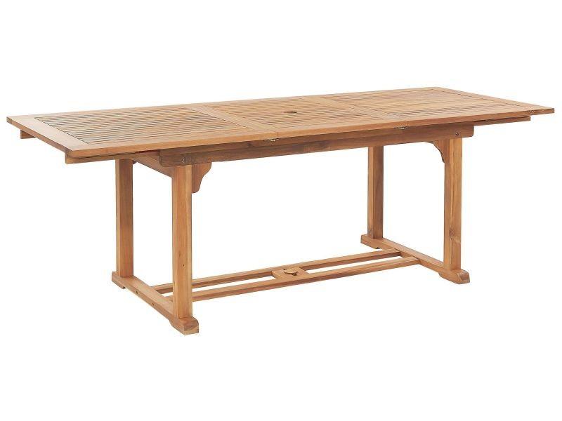 Table de jardin en bois rectangulaire avec rallonges java 2550 ...