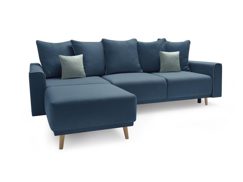 Canape d'angle gauche convertible mola avec meridienne bleu marine