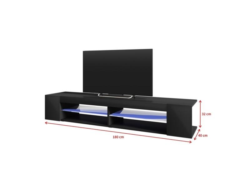 Meuble tv mitchell 180 cm noir mat noir brillant