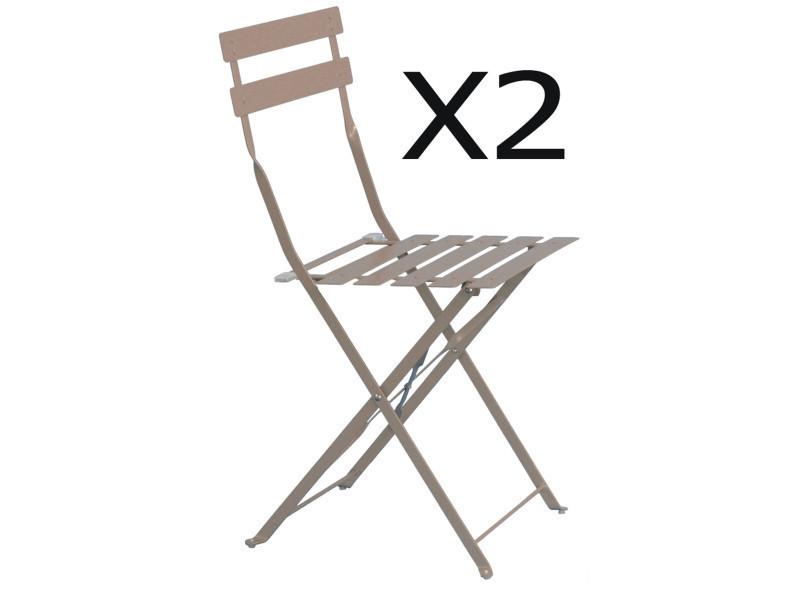 Lot de 2 chaises de jardin en acier époxy coloris taupe mat - dim ...
