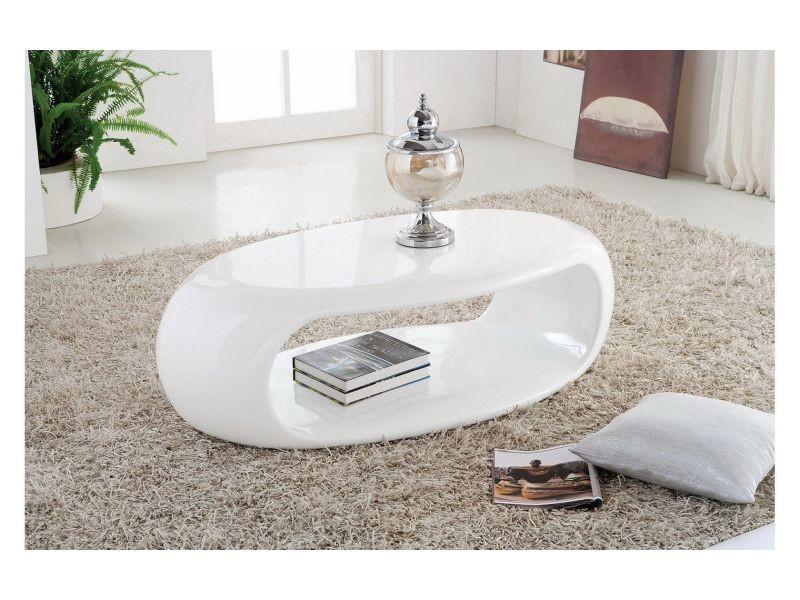 Table basse design ovale coloris blanc laqué p-121-co celia ...