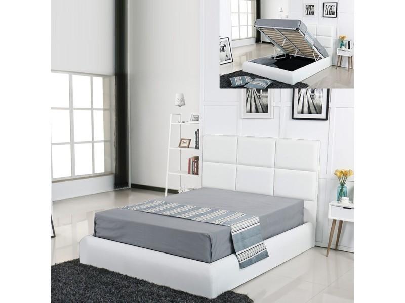 Lit Coffre Design Alves Blanc 160x200 Vente De Lit