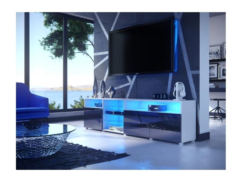 Meuble tv massimo 200 cm blanc mat et portes noir laquées led rgb