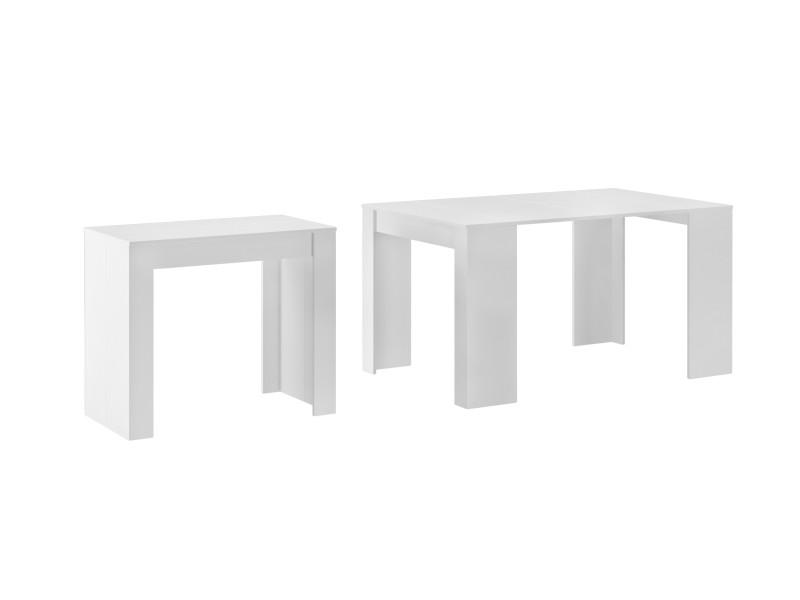 Table console extensible jusqu'à 140 cm, blanc mat