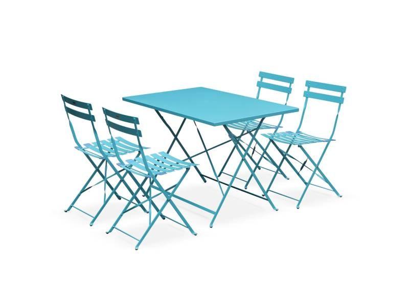 Salon De Jardin Bistrot Pliable Emilia Rectangulaire Turquoise Avec