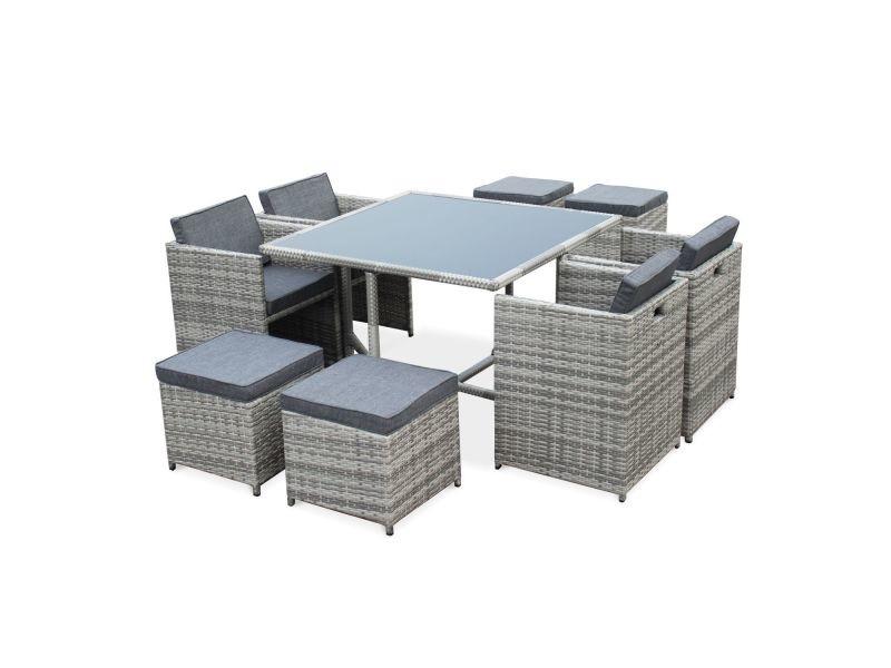 Salon de jardin vasto nuances de gris table en résine tressée 4 à 8 ...