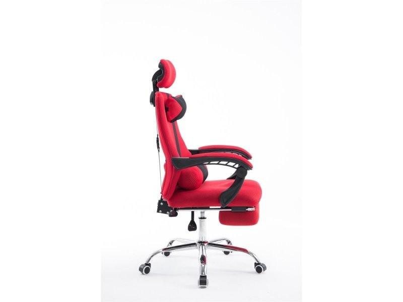 fauteuil de bureau ergonomique avec repose pieds extensible appui t te rouge bur10090 vente de. Black Bedroom Furniture Sets. Home Design Ideas
