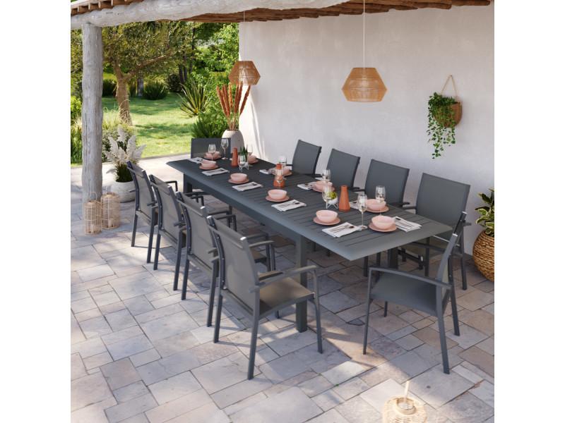 Table de jardin extensible aluminium 220/320cm + 10 ...