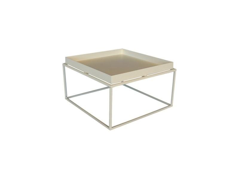 Table basse minimaliste en métal sylvie GT-252L: OFF WHITE P-0776