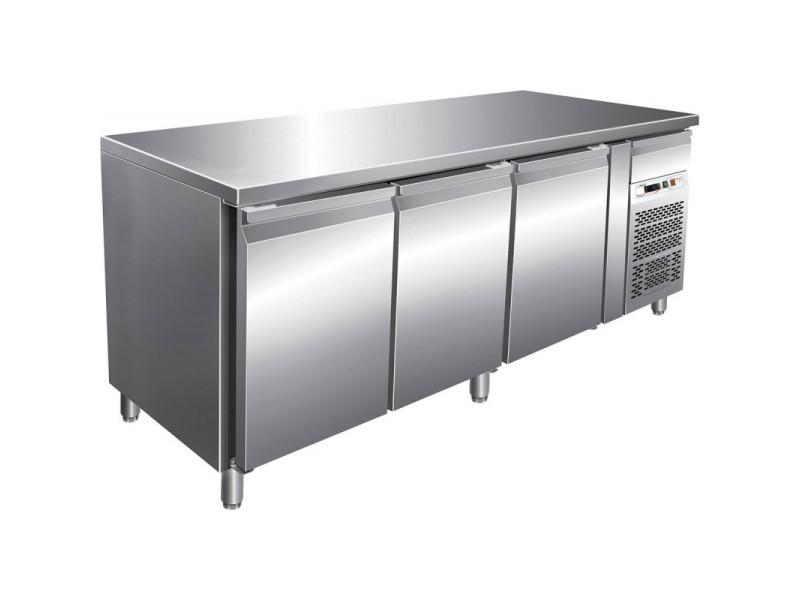 Tour pâtissier réfrigéré central 3 portes - dessus inox - 580 litres - r290 3 portes pleine