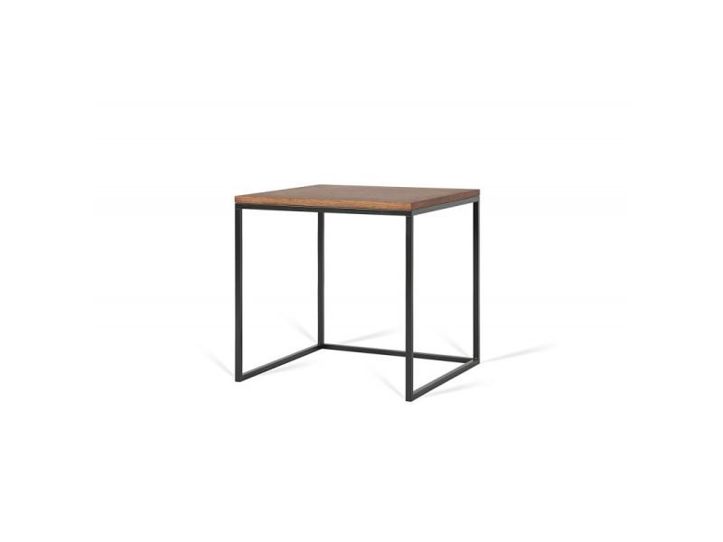 Table basse carrée industrielle 50 cm helisa / coloris : chêne foncé