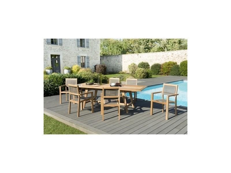 Salon de jardin en teck et textilène avec 1 table rectangle scandi ...