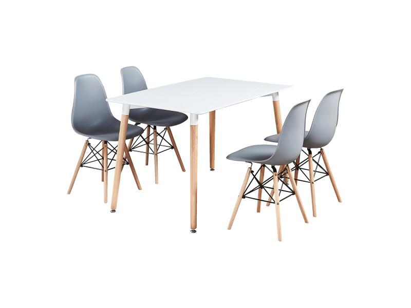 Table blanche et 4 chaises grises - design scandinave - moda eiffel halo
