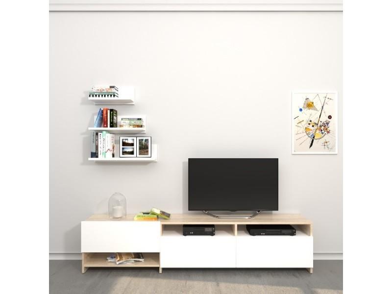 Homemania meuble tv campbell - avec des étagères, des tablettes, des portes - du salon - blanc, sonoma en bois, 180 x 28,4 x 40 cm