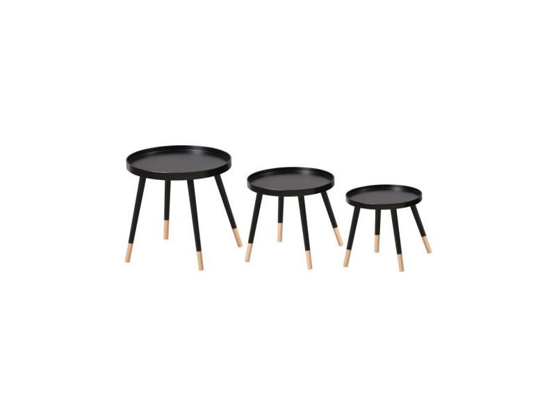 Finlandek lot de 3 tables gigognes rondes sven scandinave - plateau noir + pieds pin massif bicolore - ø 46, 40 et 35 cm