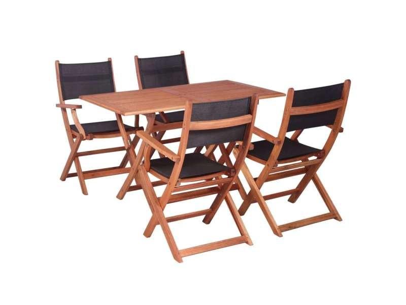 Vidaxl mobilier à dîner de jardin 5 pcs bois d\'eucalyptus et textilène ...