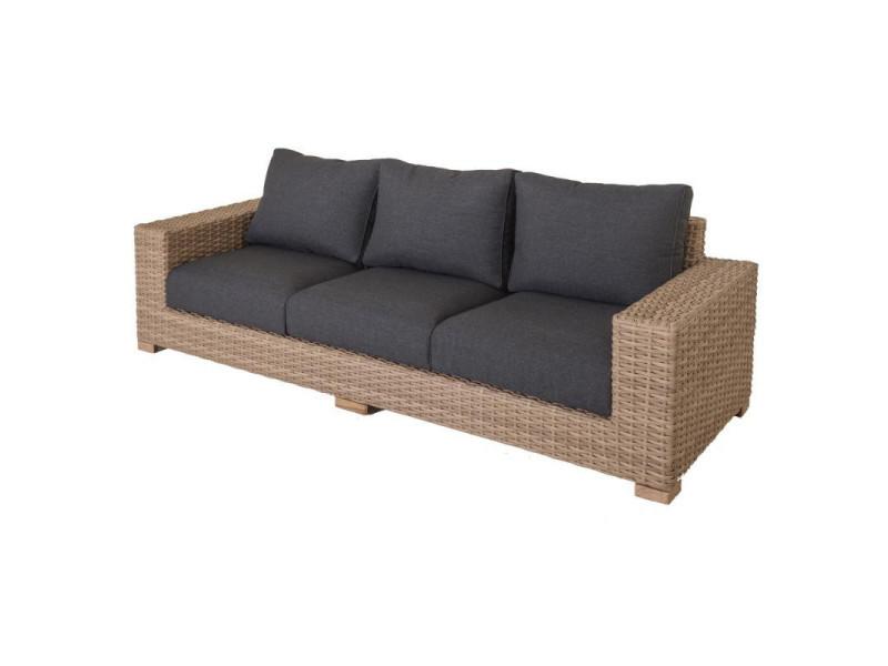 Canapé d\'extérieur 3 places rotin - faaone - l 248 x l 88 ...