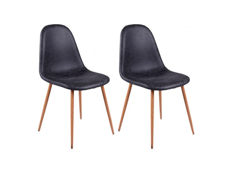 Lot de 2 chaises simili noir piètement acier effet bois - bruce 7780