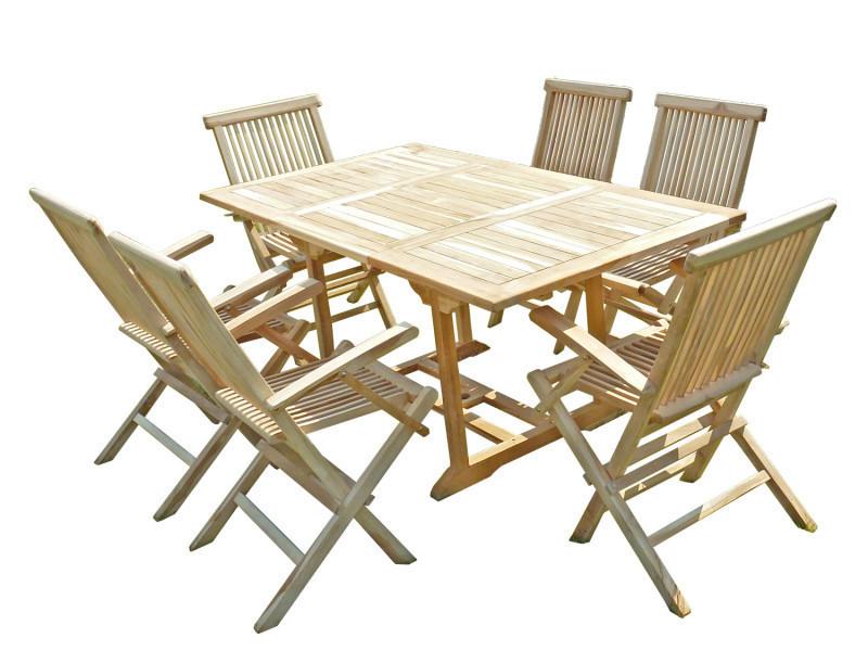 Ensemble salon de jardin en teck serang 6 fauteuils pliants
