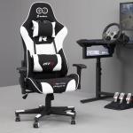 Chaise gamer / fauteuil de bureau gaming - racer - 44-54 cm - noir / blanc - style racing - fonction de basculement - 2 coussins