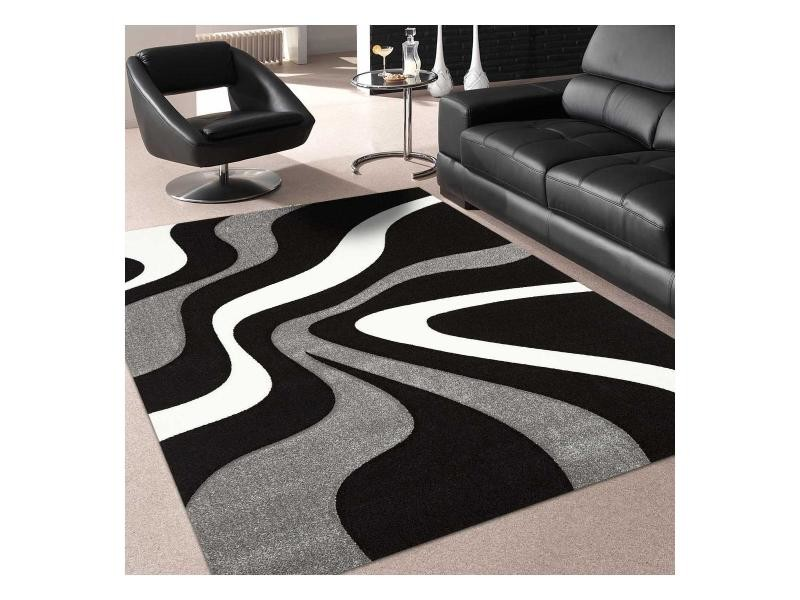 Tapis tendance pour la chambre nodage noir, gris, blanc 120 x 170 cm ...