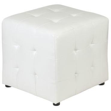 Pouf cubique diana tabouret rembourré revêtement synthétique blanc