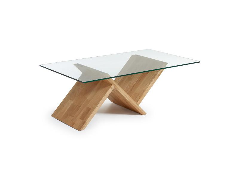 Table Basse Design Avec Pied En Bois De Chêne Massif Et