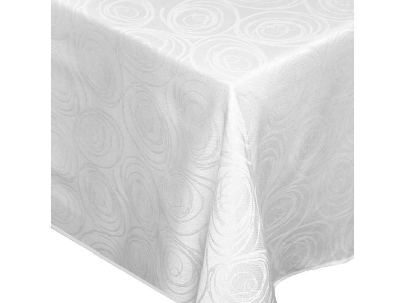Nappe rectangle 150x250 cm jacquard 100% coton spirale blanc