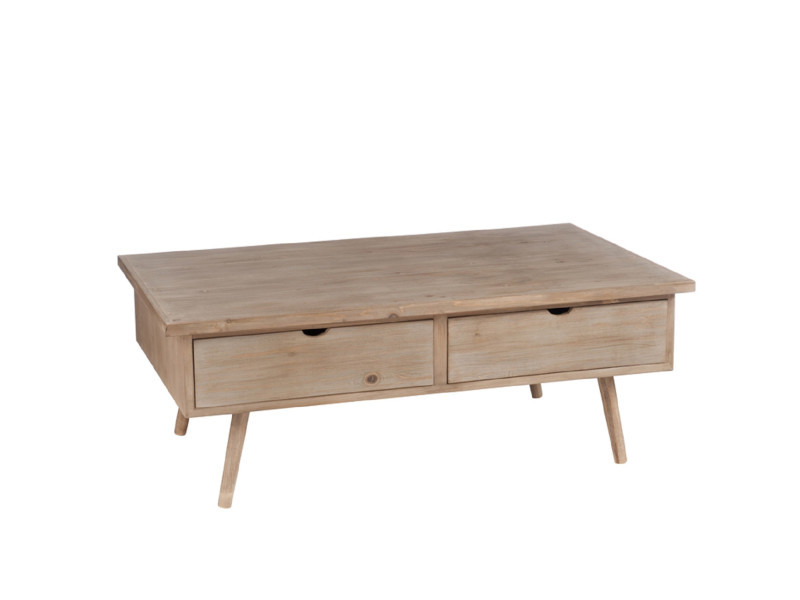 Table basse 4 tiroirs bois naturel - slivan