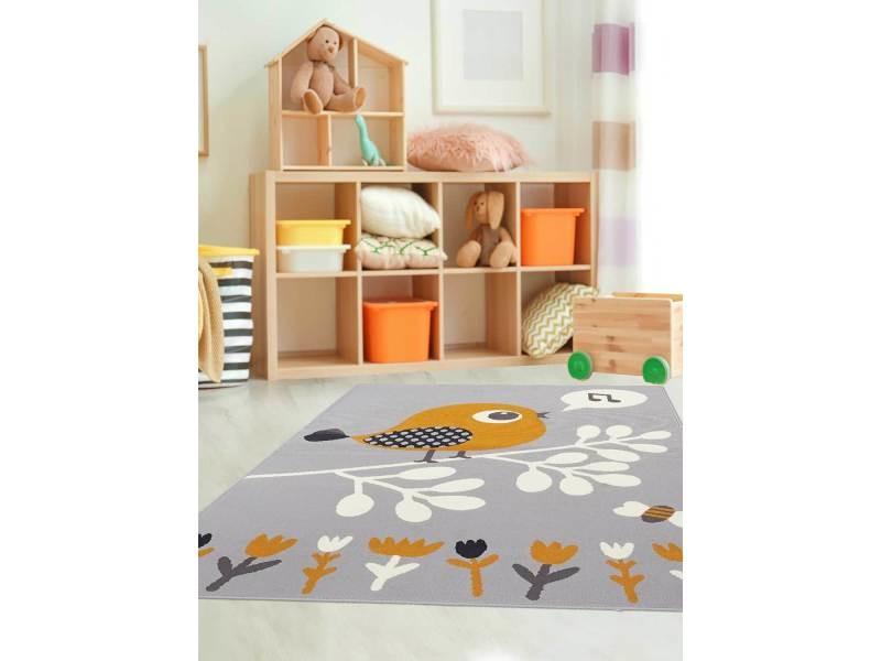 Tapis Ludique Pour Chambre Du0027enfant Af Piaf Gris, Orange, Noir, Blanc 60 X  110 Cm
