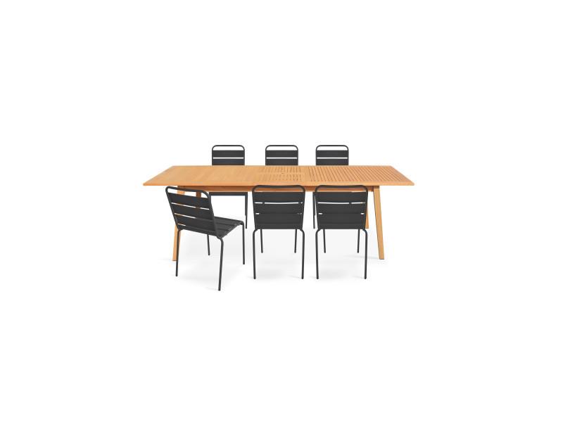 Table de jardin en bois et 6 chaises métal - Vente de ...