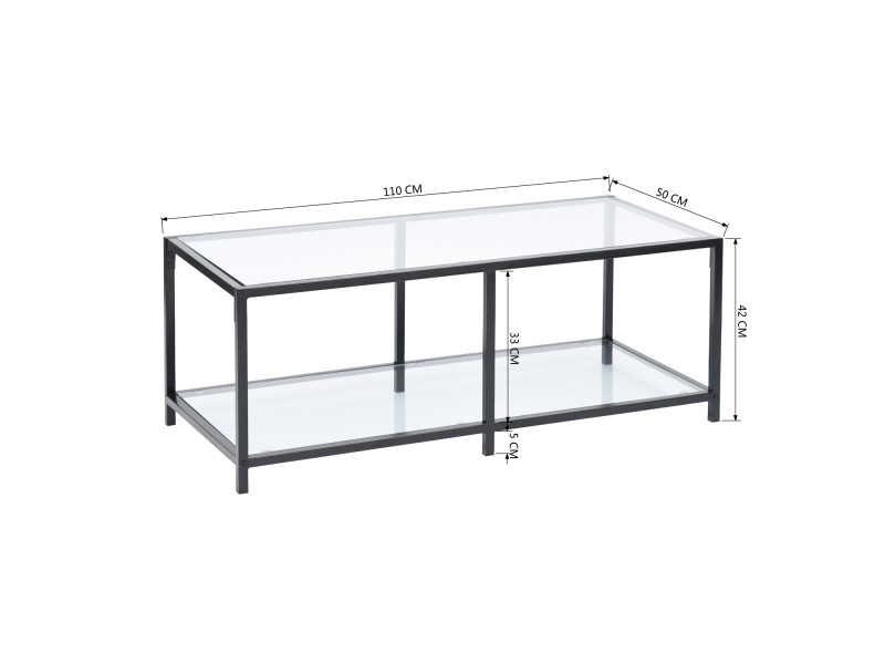 Table Basse Rectangulaire Verre Transparent Metal Justin P F1 Cf