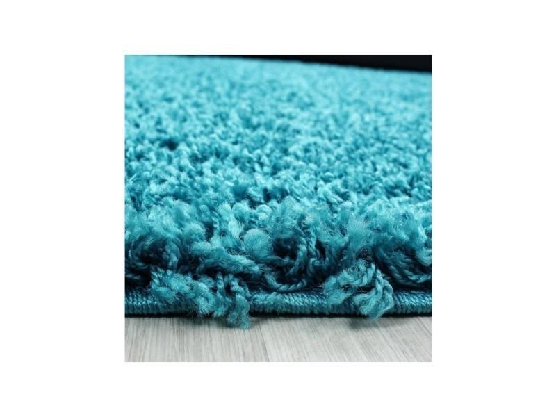 Nazar Tapis Rond Life Shaggy Turquoise 160cm De Diametre