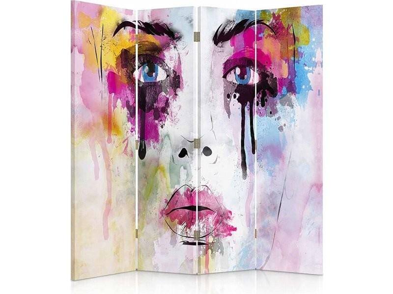 Paravent 4 volets avec les taches de peinture visage 360° PAR/4CZ-360/M_31076/145x150