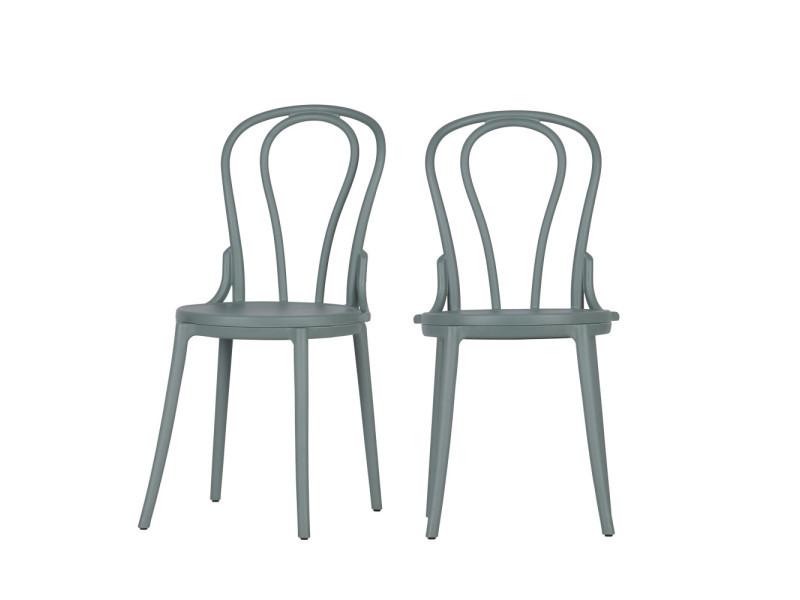 Bibi - 2 chaises style bistrot - couleur - vert 378649-G - Vente de Salon  ...