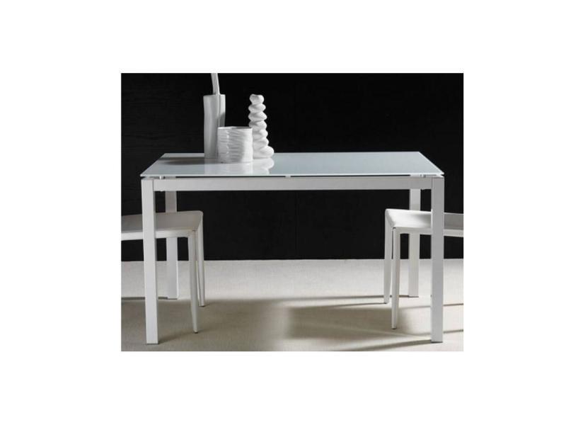 Table repas extensible majestic 130 x 80 cm en verre blanc 20100836717